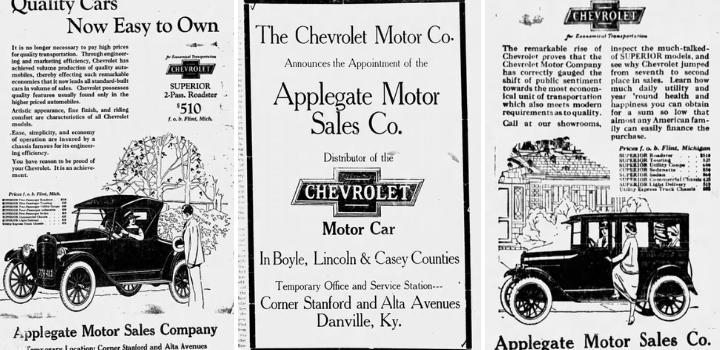 1923 Applegate Motor SalesAds