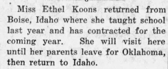 Ethel Koons Visit